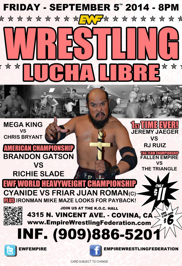 Friday September 5th in Covina, CA @ EWF Arena at KoC Hall | Covina | California | United States
