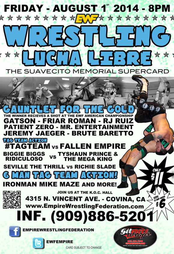 Friday August 1st in Covina, CA @ EWF Arena at KoC Hall | Covina | California | United States