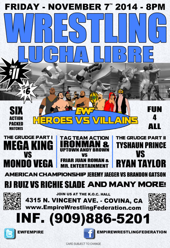 Friday November 7th in Covina, CA @ EWF Arena at KoC Hall | Covina | California | United States