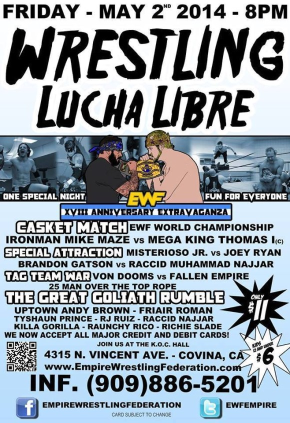 Friday May 2nd in Covina, CA @ EWF Arena at KoC Hall | Covina | California | United States