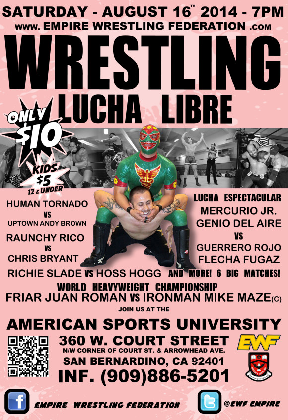 Saturday August 16th in San Bernardino, CA @ American Sports University | San Bernardino | California | United States